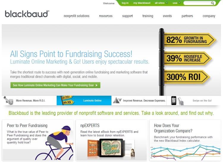 비영리기관에 소프트웨어와 서비스를 제공하는 블랙보드 홈페이지 http://www.blackbaud.com/
