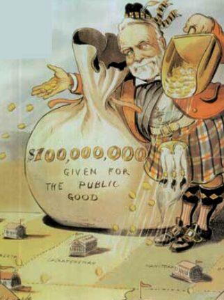 Andrew Carnegie's philanthropy as golden shower. Puck magazine cartoon by Louis Dalrymple. published New York City 1903