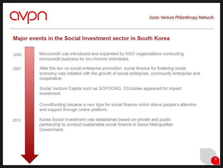 한국의 벤처 필란트로피 역사 : AVPN 발표자료 중