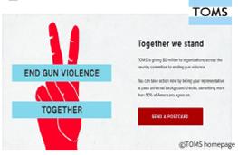 TOMS 예시: 캘리포니아 총기사건 이후, 총기폭력에 대응하는 캠페인 페이지를 개설하고 법안 발의 촉구 운동 진행 (출처: 정유진대표 강의자료)