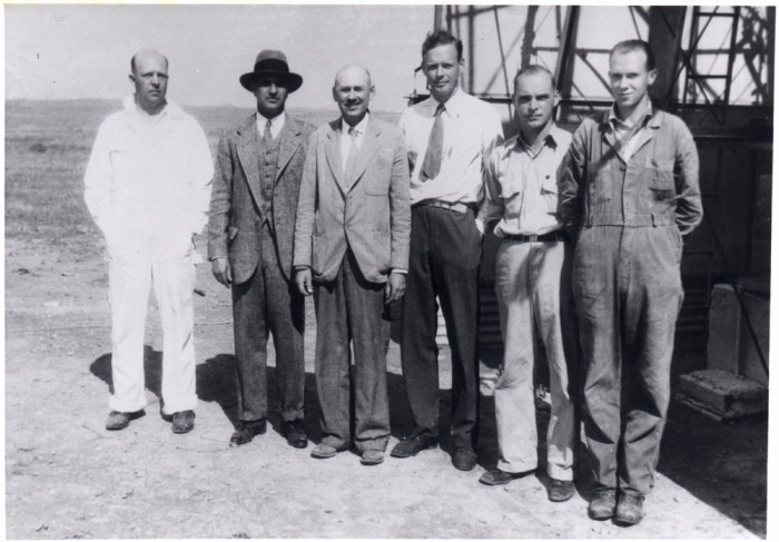 Harry Guggenheim, Robert Goddard, and Charles Lindbergh (second, third, and fourth from left), Roswell, New Mexico, September 23, 1935.