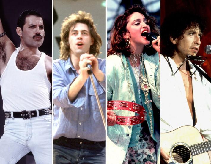 Live Aid 1985 출연진 중 프레이머큐리, 밥 겔도프, 마돈나, 밥 딜런