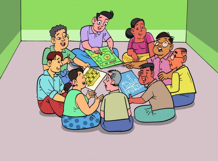 9명의 사람들이 둘러 않아 그림을 보며 이야기를 나누고 있다.